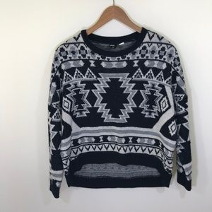 Urban Outfitters Black and White Tribal Sweater XS